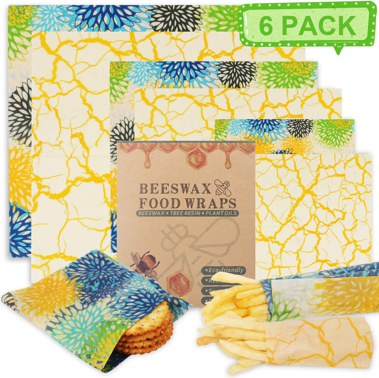 Reusable Beeswax Wrap Bees wax Food Storage Wraps – 6 Packs Eco Friendly Cotton Wrapping(Green)