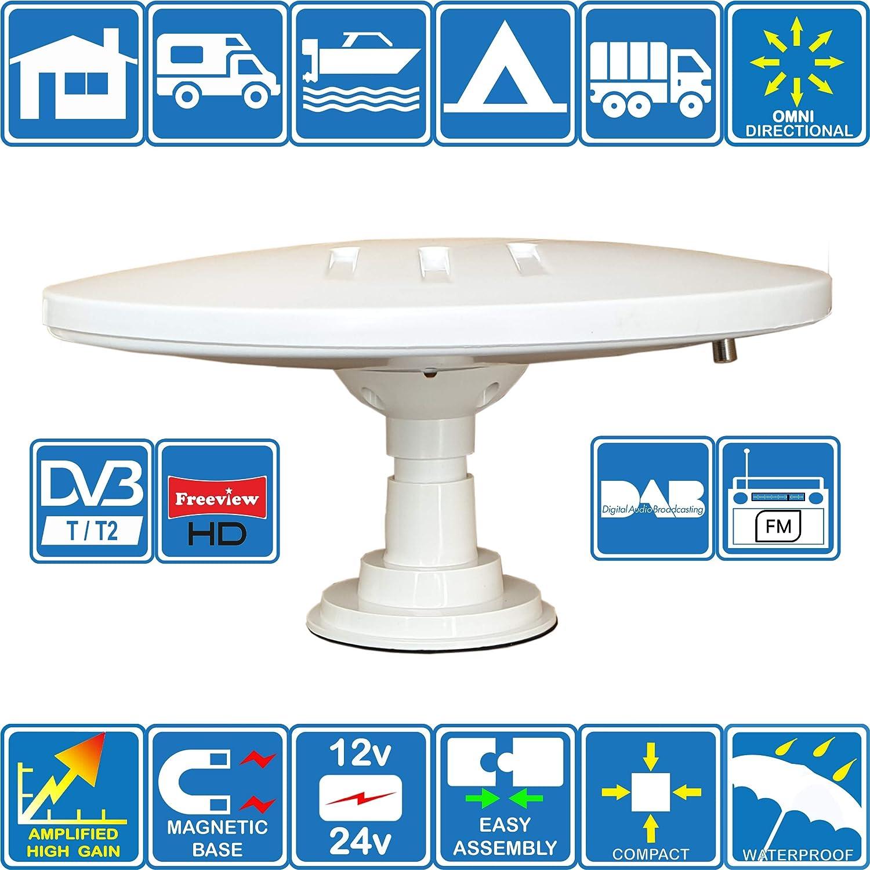 Helio-Magnet Antena de TV HD Digital Omnidireccional con 33dB Incorporado en Amplificador para DVB-T2 TDT FM Dab. 12V / 24V. Ideal para Autocaravanas Camiones Caravanas Barcos por Unispectra®