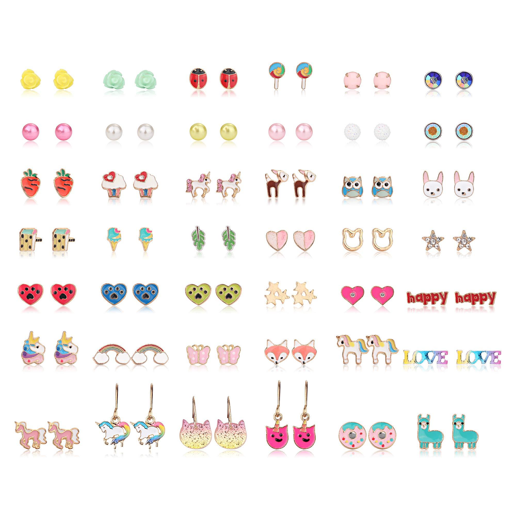 Hanpabum 42 Pairs Stainless Steel Earrings for Girls Women Flower CZ Animals Heart Ice Cream Colorful Cute Stud Earrings set by Hanpabum