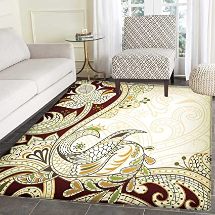 Ethnic Dining Room Home Bedroom Carpet Floor Mat Oriental Floral Leaf Pattern With Middle Eastern Effects