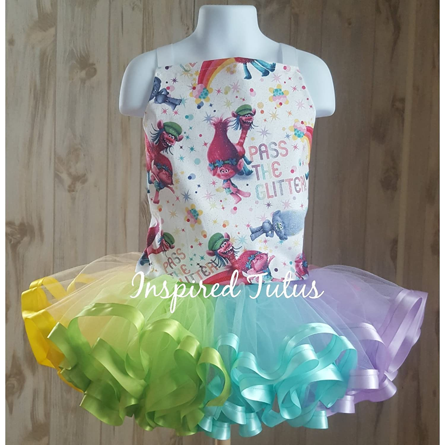 Trolls tutu with corset top and ribbon trimmed tutu on an elastic waistband. Other characters/fabrics available