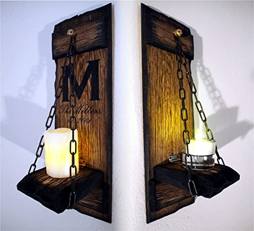 Rustic Candle Sconces Set Of 2 Primitive Country Home Decor Personalised Housewarming Gift Wooden Hanging Wall Candle Holder Sconce Amazon Co Uk Handmade