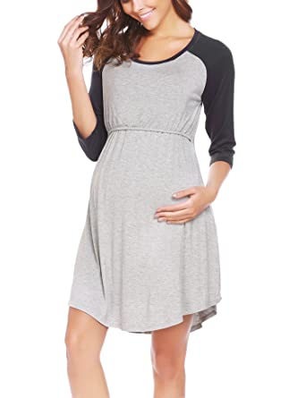 4e1c3a5a48 Ekouaer Women s 3 4 Raglan Sleeve Maternity Dress Nursing Breastfeeding  Nightgown Dress(Black