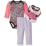 Bon Bebe Baby Girls' 3 Piece Pant Set with Long Sleeve Lap Shoulder Bodysuit and 3D Bib, Pink Cheetah, 0-3 Months