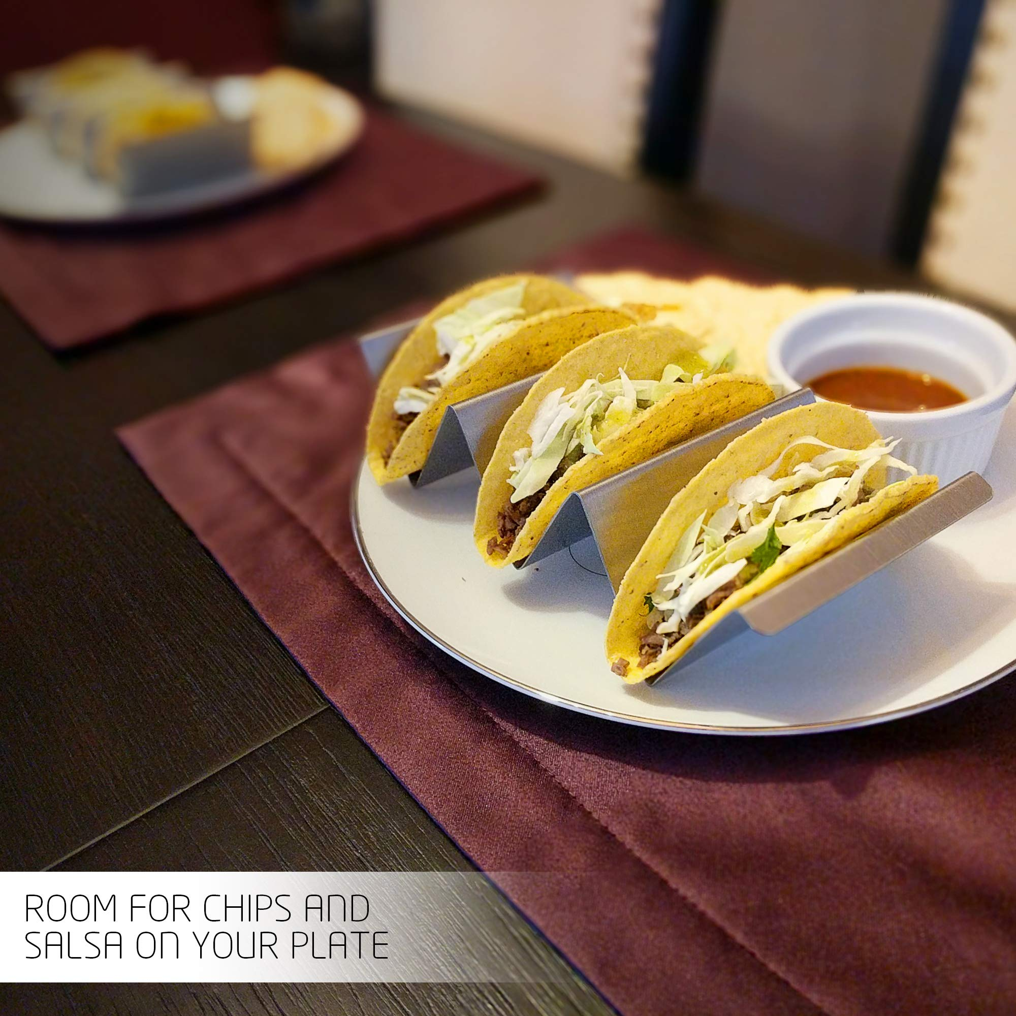 Taco Holder with Handles- Stainless Steel- Set of 6- Stand up 2-3 Tacos/Tortillas – Easy to Fill and Store- Dishwasher & Oven safe- Zamena Designs by Zamena Designs (Image #4)