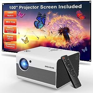 Mini Projector, BIGASUO 2021 Native 1080P Projector Bluetooth Support, 7000L Portable Projector with Digital Zoom&HiFi Stereo, Movie Projector Compatible TV Stick,HDMI,USB [100''Screen Included]