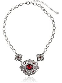 1928 Jewelry 1928 Red Jeweltones Silver-Tone Siam Red and Crystal Accent Pendant Necklace, 16""