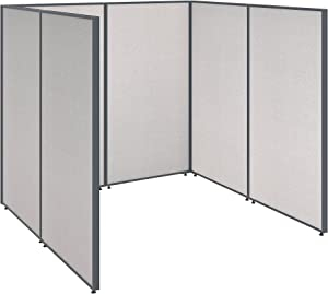 Bush Business Furniture ProPanels Single Open Cubicle Office in Light Grey