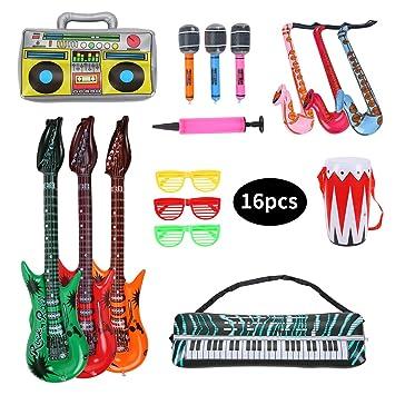 Herefun Inflables de Juguete, 16 Pcs Inflable Rock Guitarra Micrófono Saxofón Tambor Música Prop, Musicales Accesorios para Artículos de Fiesta Globos ...
