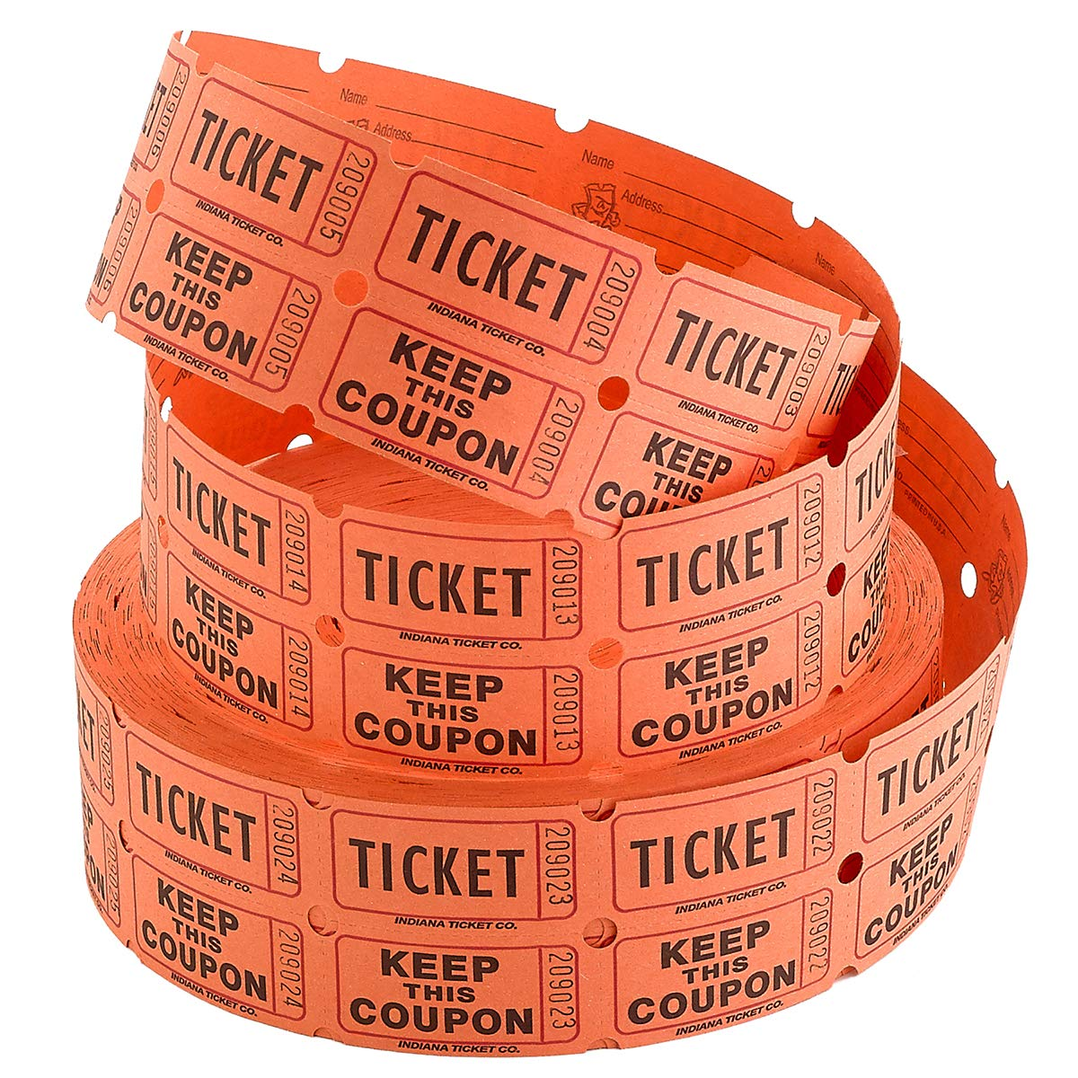 Kicko Raffle Tickets - Double Roll Tickets - Orange - Roll of 2000 Tickets - Fundraisers - Authentic Coupons - Indiana Ticket Company by Kicko