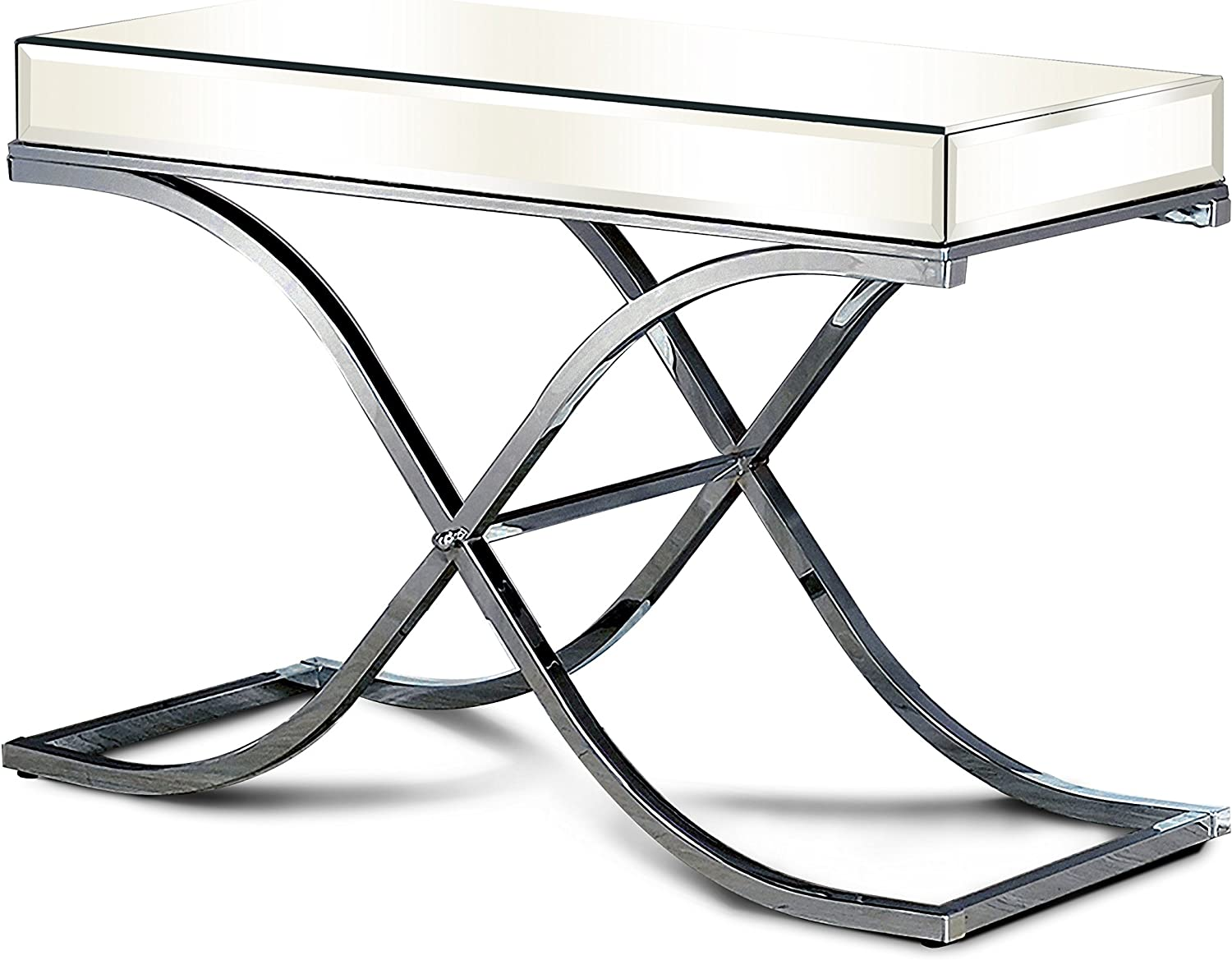 Furniture of America Luxy Mirror Panel Side Table, Chrome