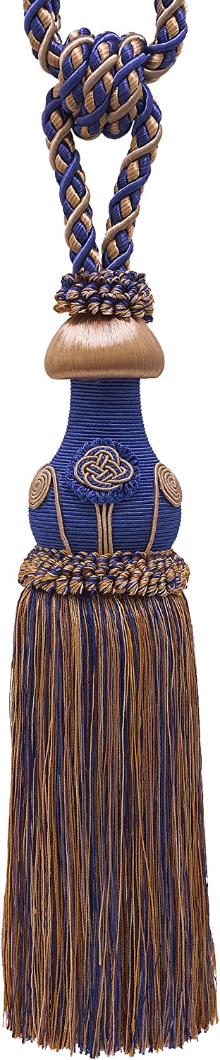 81cm Spread 11mm Cord Pair of Decorative Ultramarine Blue embrace Baroque Collection Style# TBBL-1 Color: NAVY TAUPE 5817 Tan Curtain /& Drapery Tassel Tieback //30cm tassel
