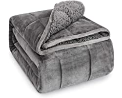 Sivio Sherpa Fleece Weighted Blanket for Adult, 15 lbs Heavy Fuzzy Throw Blanket with Soft Plush Flannel, Reversible Twin-Siz