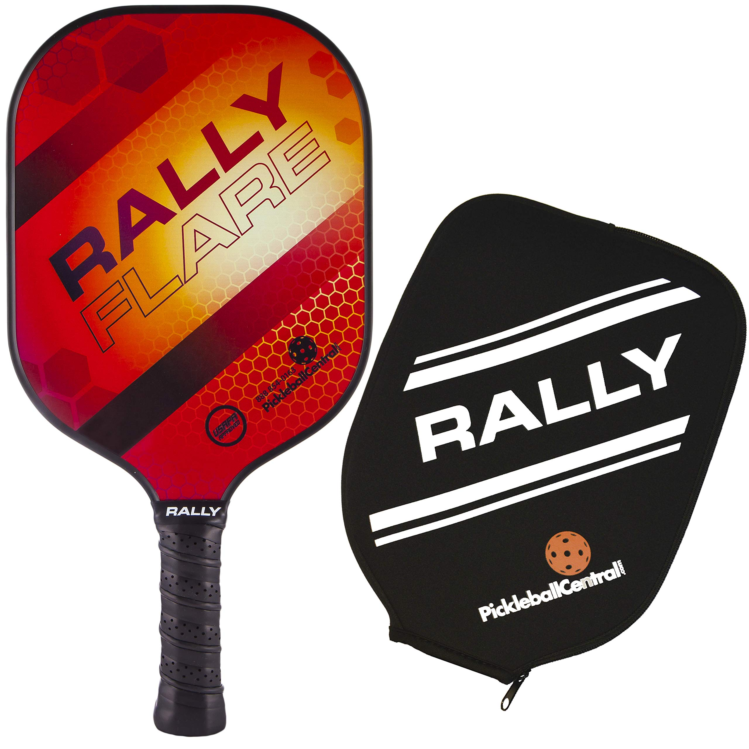 Rally Flare Graphite Pickleball Paddle - Red | Polymer Honeycomb Core, Graphite Face | Lightweight Control, Power, Spin | Paddle Cover Included in Bundle | USAPA Approved by PickleballCentral