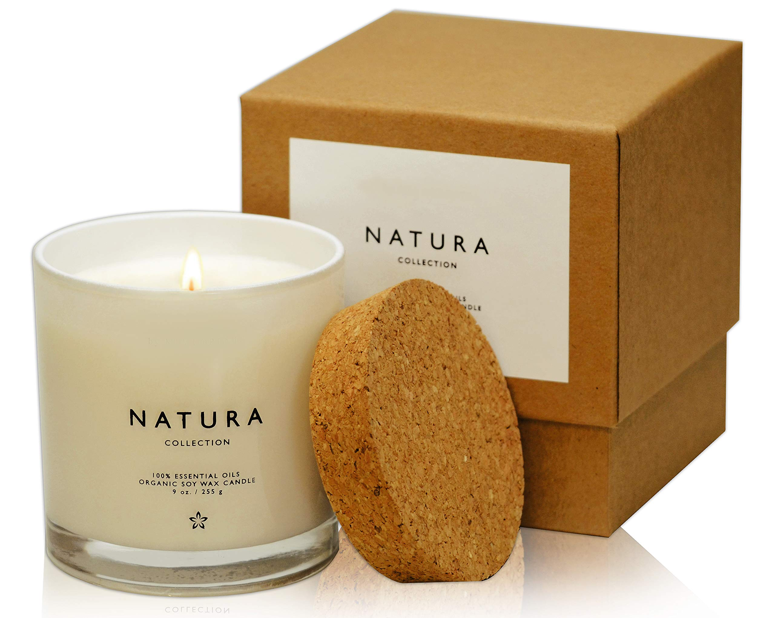 Lulu Candles Natura 100% Organic Soy Vegan Wax Candle with 100% Belgium Lavender Organic Essential Oil - 100% Cotton Lead Free Wicks - Paraffin Free - Paraben & Phthalate Free - Eco Friendly