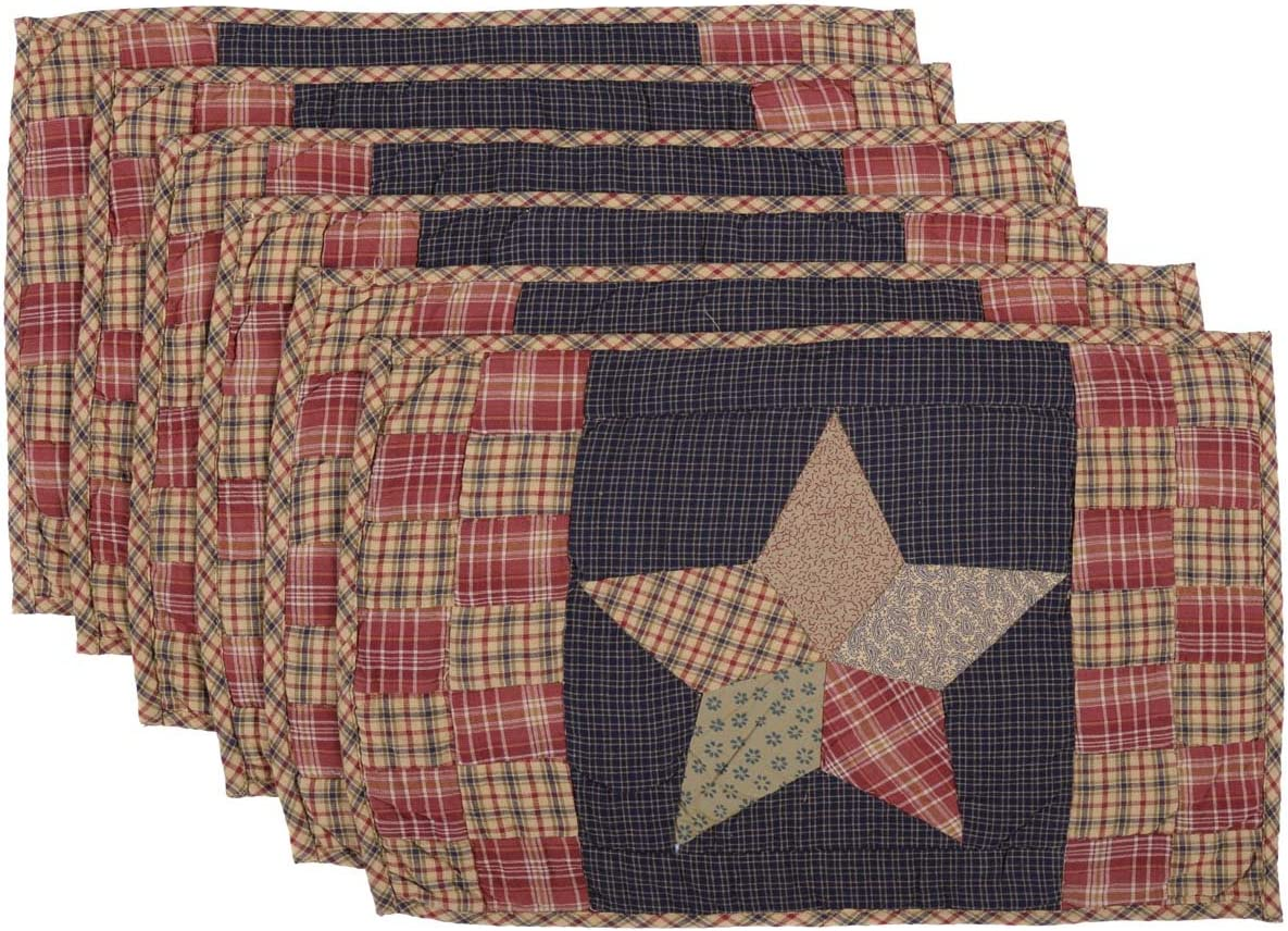 Amazon Com Vhc Brands Classic Country Tabletop Kitchen Maryland Cotton Hand Quilted Patchwork Star Rectangle Placemat Set Of 6 12 X 18 Navy Blue Home Kitchen