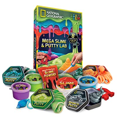 NATIONAL GEOGRAPHIC Mega Slime Kit & Putty Lab - 4 Types of Amazing Slime For Girls & Boys Plus 4 Types of Putty Including Magnetic Putty, Fluffy Slime & Glow-in-the-Dark Putty: Toys & Games [5Bkhe0304406]