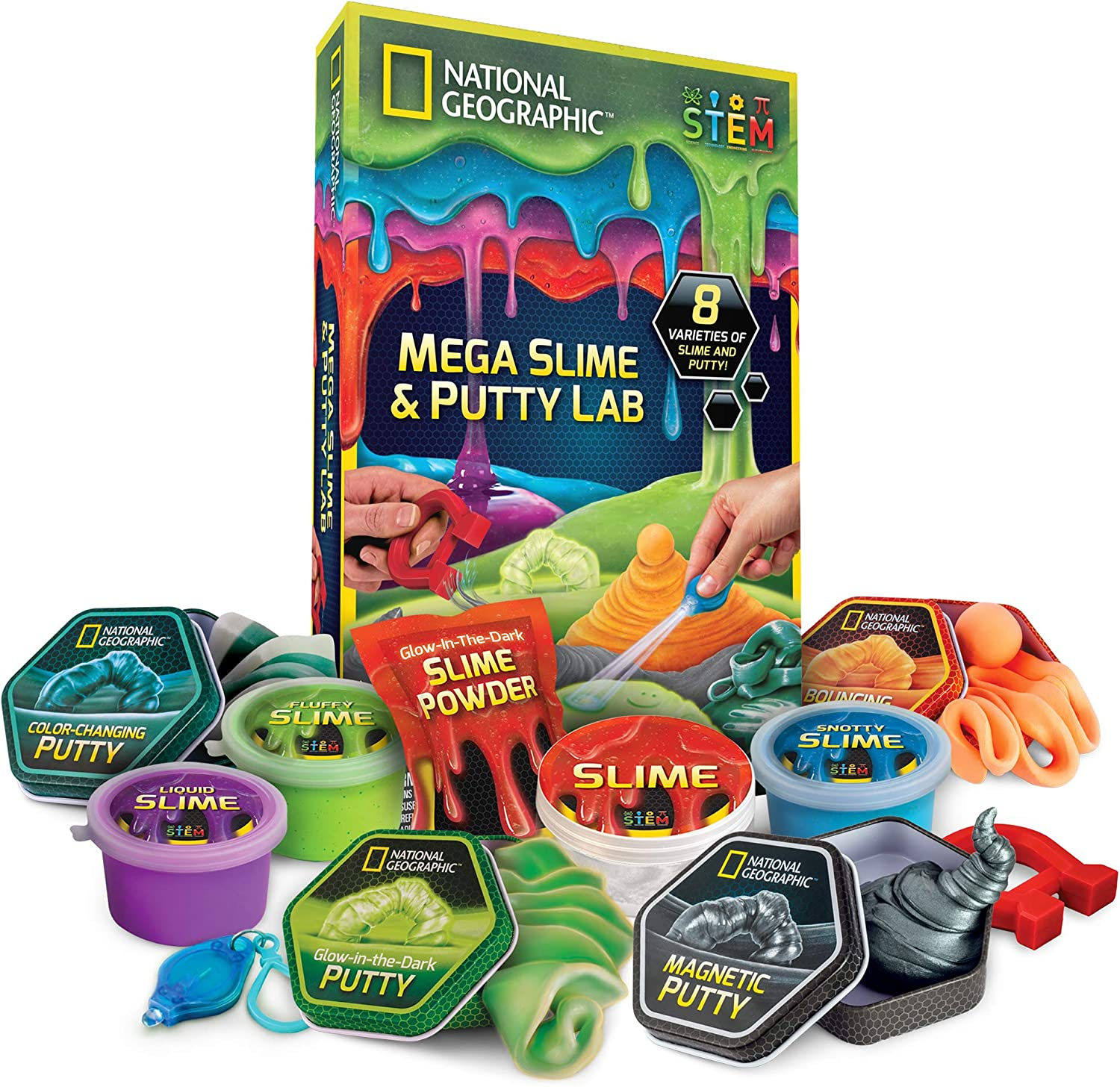 NATIONAL GEOGRAPHIC Mega Slime Kit & Putty Lab - 4 Types of Amazing Slime For Girls & Boys Plus 4 Types of Putty Including Magnetic Putty, Fluffy Slime & Glow-in-the-Dark Putty: Toys & Games