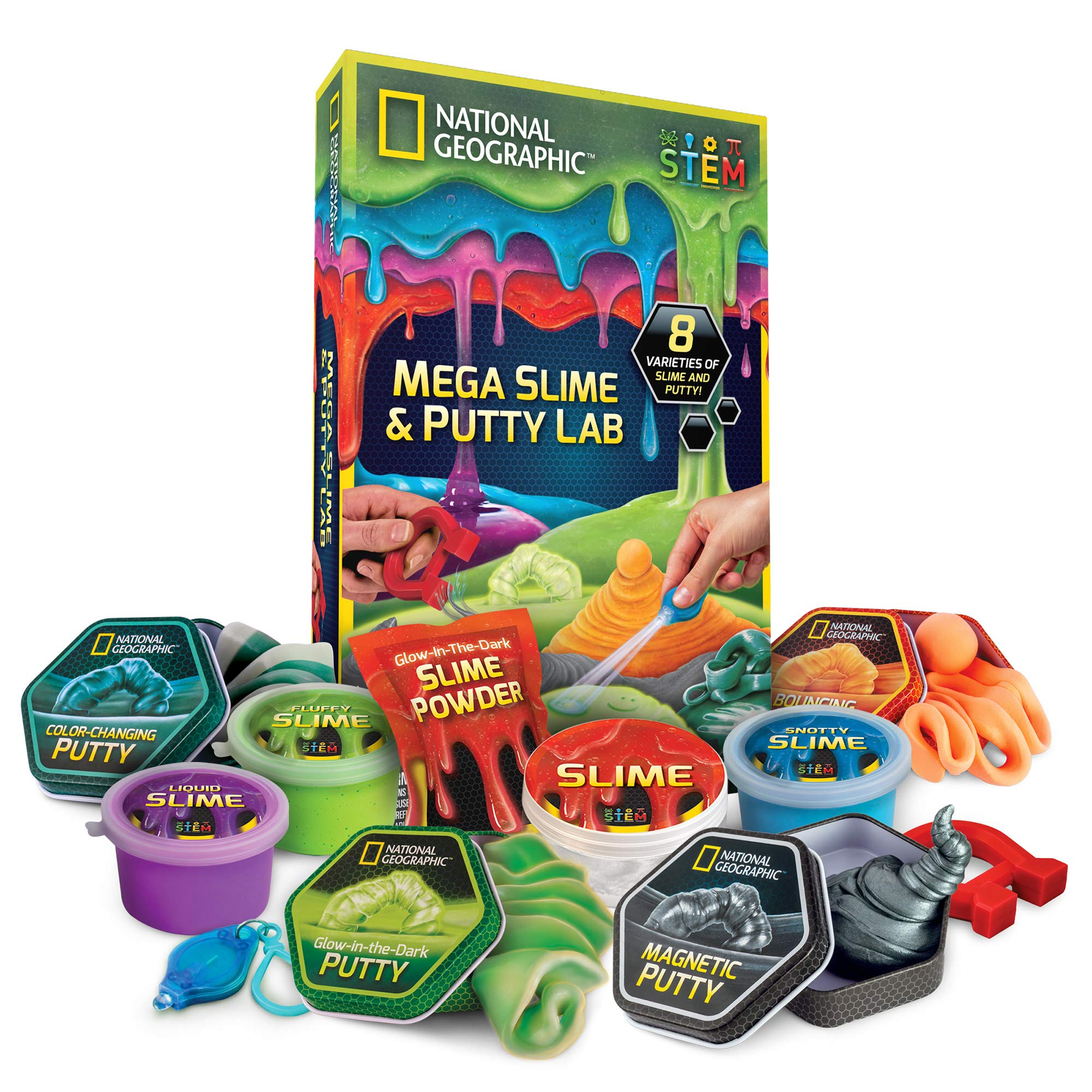 NATIONAL GEOGRAPHIC Mega Slime Kit & Putty Lab - 4 Types of Amazing Slime For Girls & Boys Plus 4 Types of Putty Including Magnetic Putty, Fluffy Slime & Glow-in-the-Dark Putty by NATIONAL GEOGRAPHIC