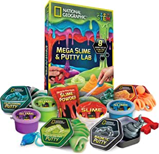 NATIONAL GEOGRAPHIC Mega Slime Kit & Putty Lab - 4 Types of Amazing Slime for Girls and Boys plus 4 Types of Putty including Magnetic Putty, Fluffy Slime and Glow-in-the-Dark Putty