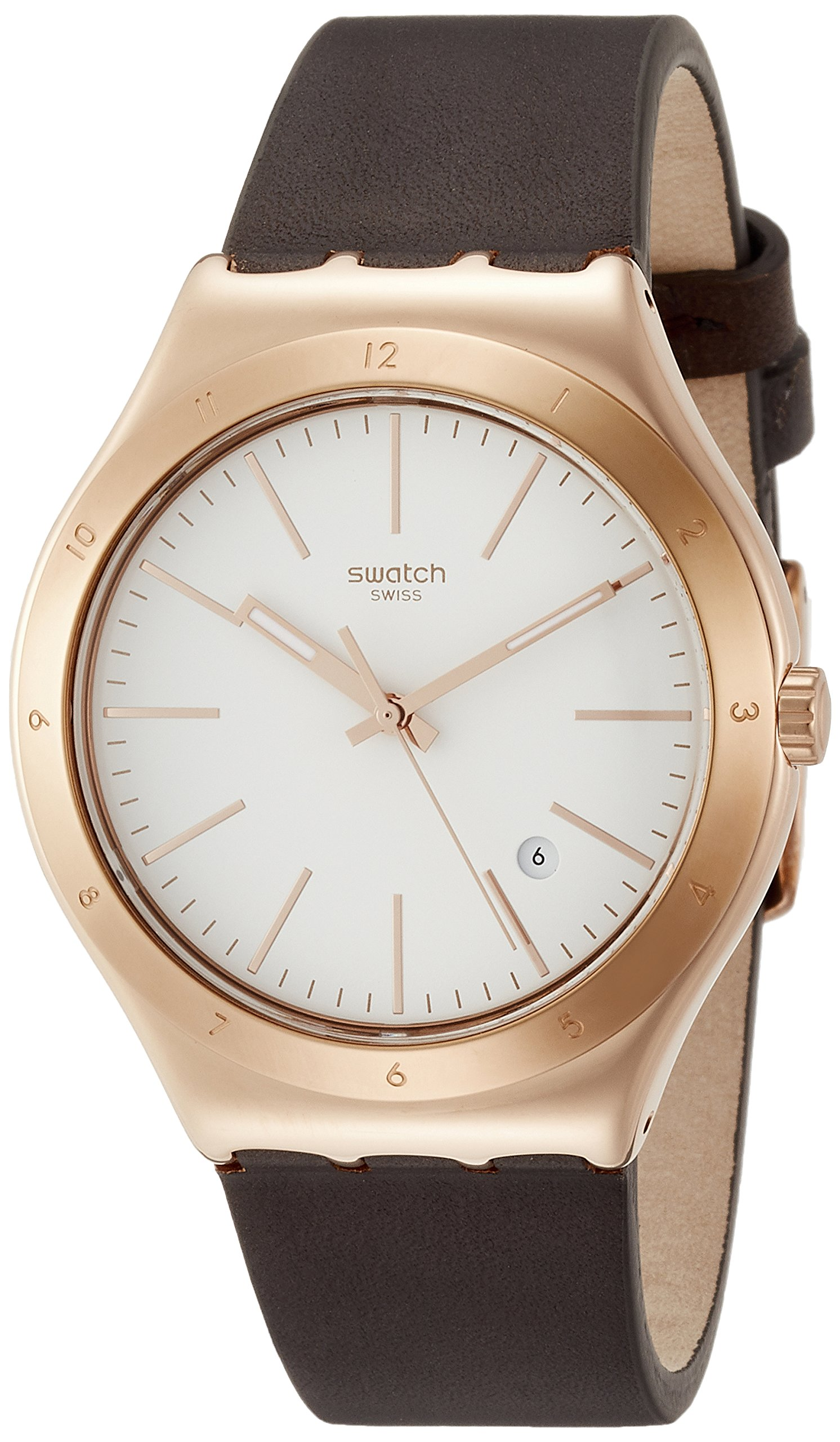 Swatch Irony Tic-Brown White Dial Leather Strap Unisex Watch YWG405
