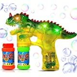 Haktoys Jurassic Dinosaur Bubble Gun Shooter Light Up Blower | Toy Bubble Blaster for Toddlers, Kids, Parties | LED…