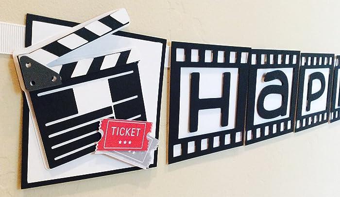 Movie Party Banner Cinema Theme Decoration Filmstrip