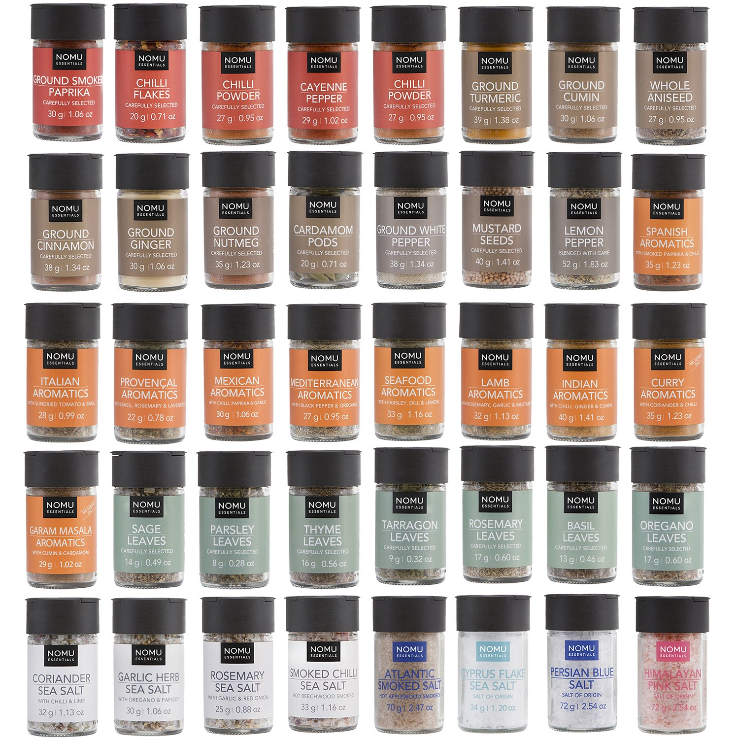 NOMU 40-Piece Complete Variety Set of Spices, Herbs, Chilis, Salts and Seasoning Blends Range | Non-irradiated, No MSG or Preservatives