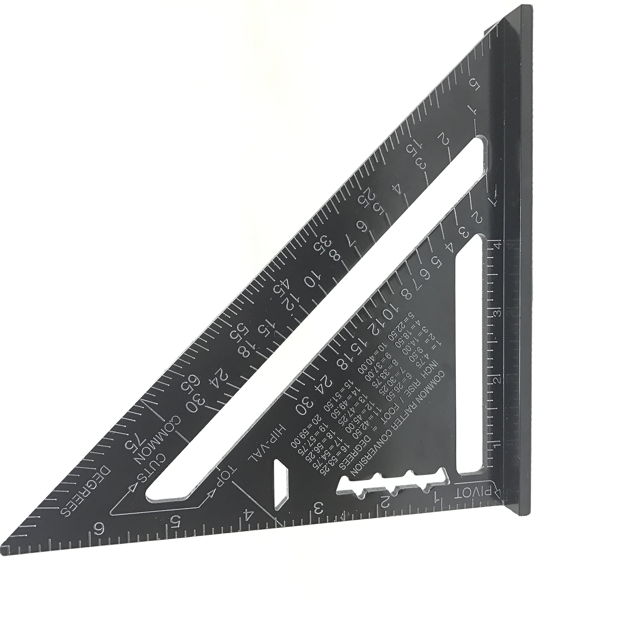 7 Inch Black Aluminum Alloy Quick Premium Read Rafter Speedlite Speed Square Layout Tool Triangle Angle for Carpenter