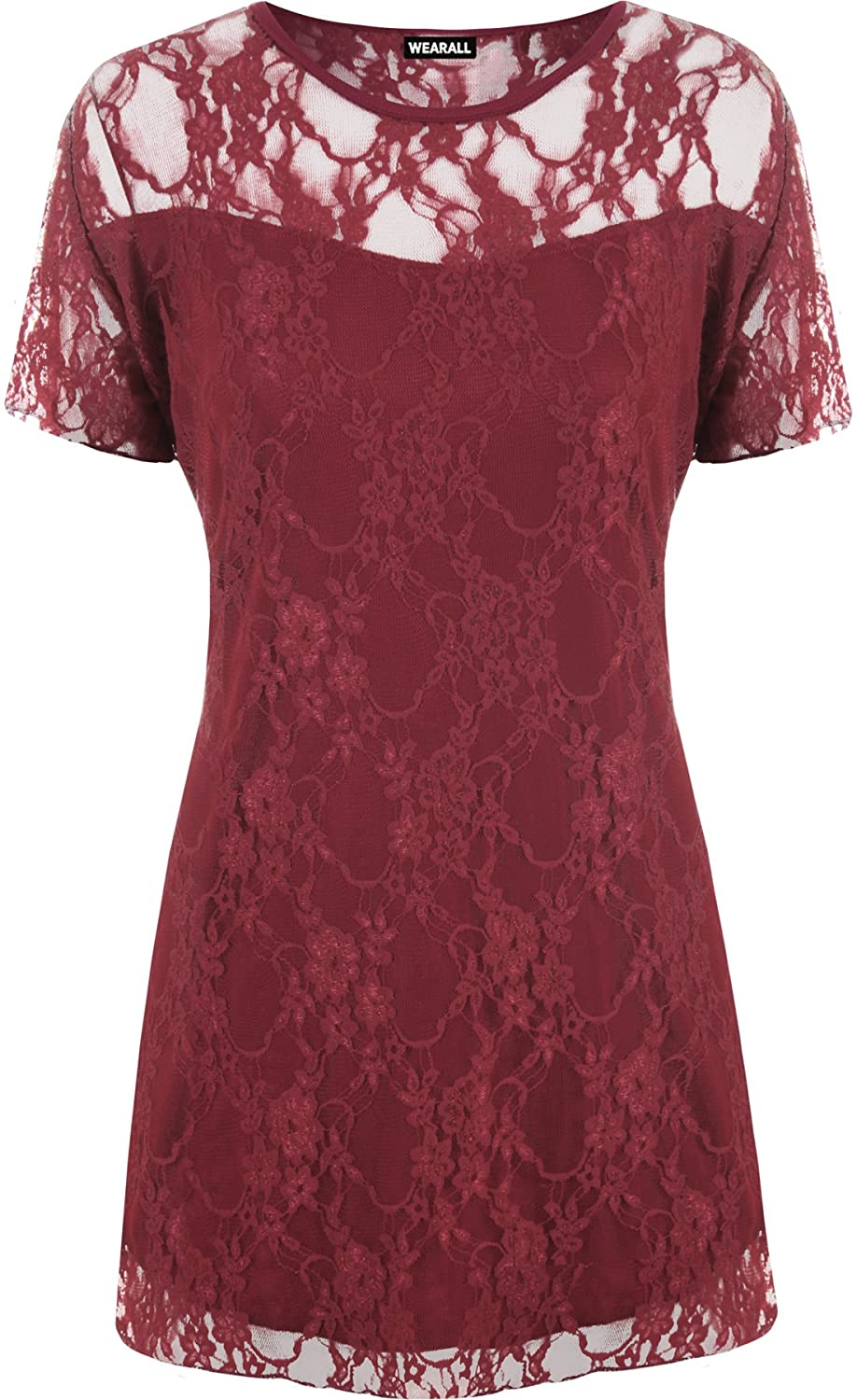 WearAll Ladies Lace Lined Top Womens Plus Size Stretch Short Sleeve Top Sizes 14-28 17793