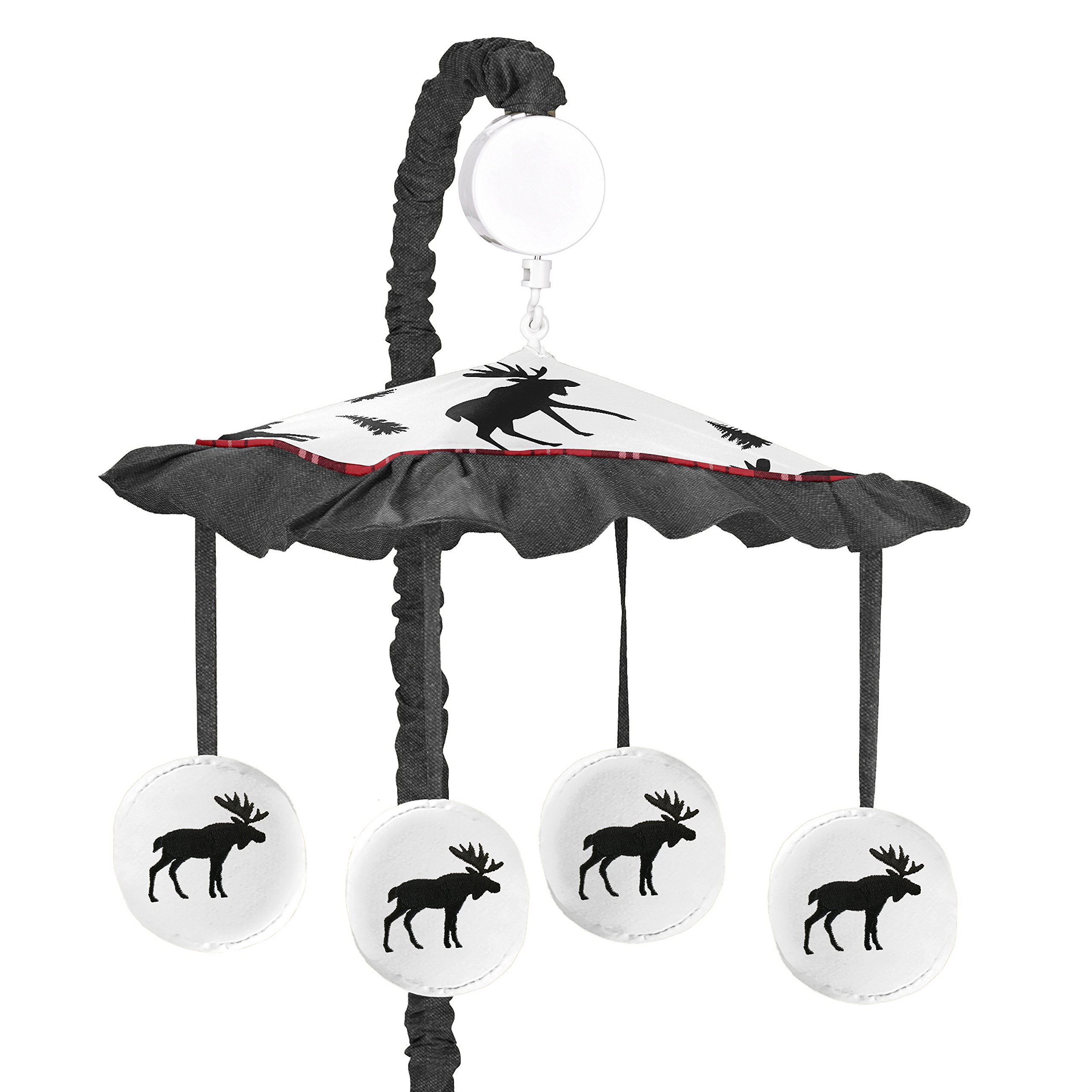 Sweet Jojo Designs Grey, Black and Red Woodland Plaid and Moose Musical Baby Crib Mobile for Rustic Patch Collection
