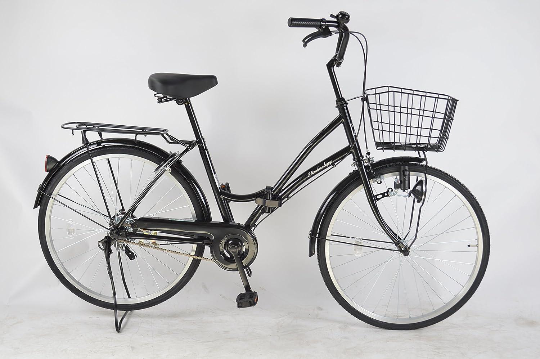 21Technology 2018年新型 MC240 24インチ 折りたたみ自転車 ママチャリ シティサイクル ライト 鍵 標準装備 B01BTEP1JU ブラック ブラック