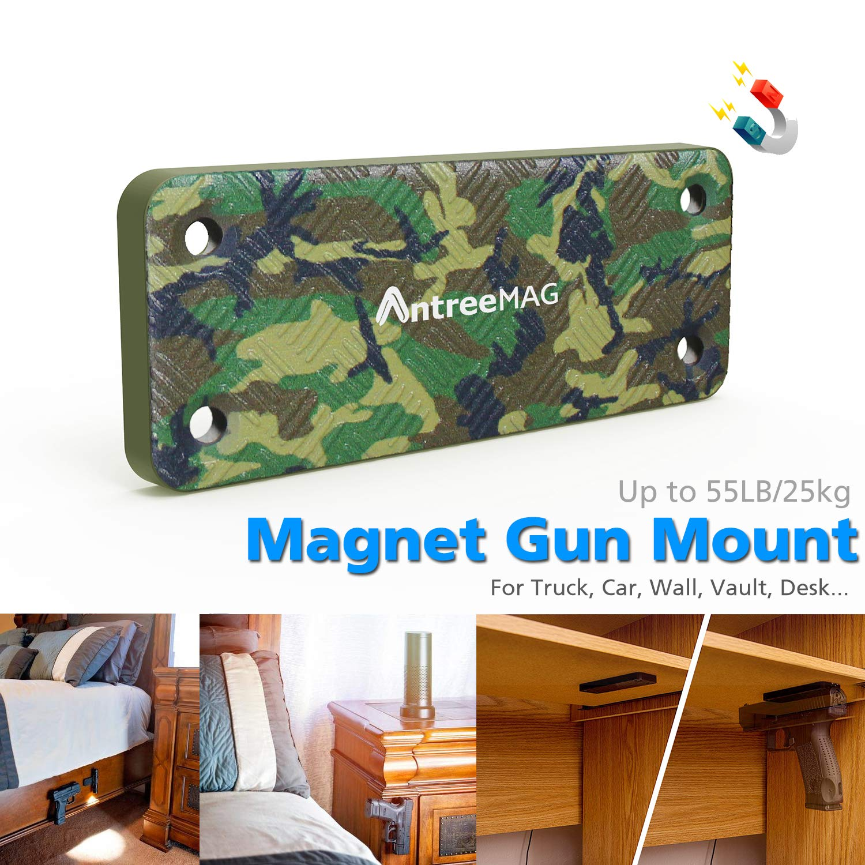 2-Pack Magnetic Gun Mount , HQ Rubber Coated Gun Mount for Handgun, Shotgun,Pistol,Revolver,Rifle | Easy Concealed Tactical Gun Magnet Holder for ...