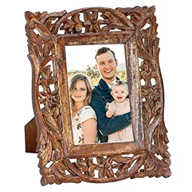 Handmade Wooden 4x6 Inches Photo Picture Frame - Hand Carved Vintage-Look Wooden Photo Frame in Jali Work - Home Decor Picture Frames Table-Top/Office/Home Decor Accessories (Brown 001)