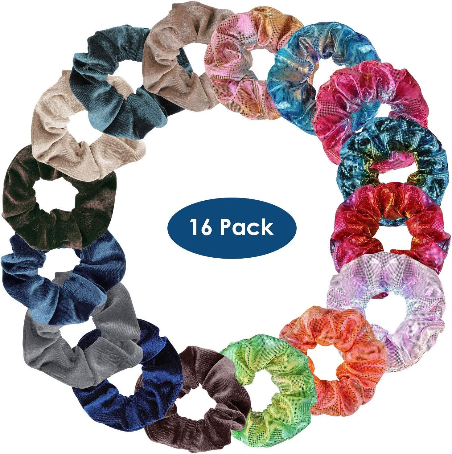 Simpeak 16 PCS Scrunchies for Girls Women Shiny Metallic Scrunchies Hair Bow Elastics Ponytail Holder 2 Style, Shiny and Velvet Premium Hair Velvet Scrunchies Soft Hair Bands-Style 2