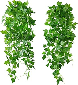 Artificial Hanging Plants for Room Decor Artificial Green Ivy Vines for Wedding Wall Porch Decorations,Pack of 2