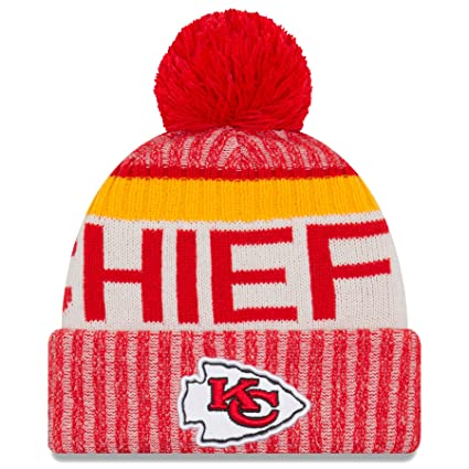 d77e6eb4992a02 Amazon.com : New Era Kansas City Chiefs NFL Sideline On Field 2017 Sport Knit  Beanie Beany : Clothing