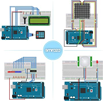 Smraza Completo Starter Kit,Mega 2560 con Guías Tutorial y Placa Controladora Mega 2560, LCD1602, Servomotor, Motor Paso a Paso Compatible con Arduino R3 Nano v3 ...