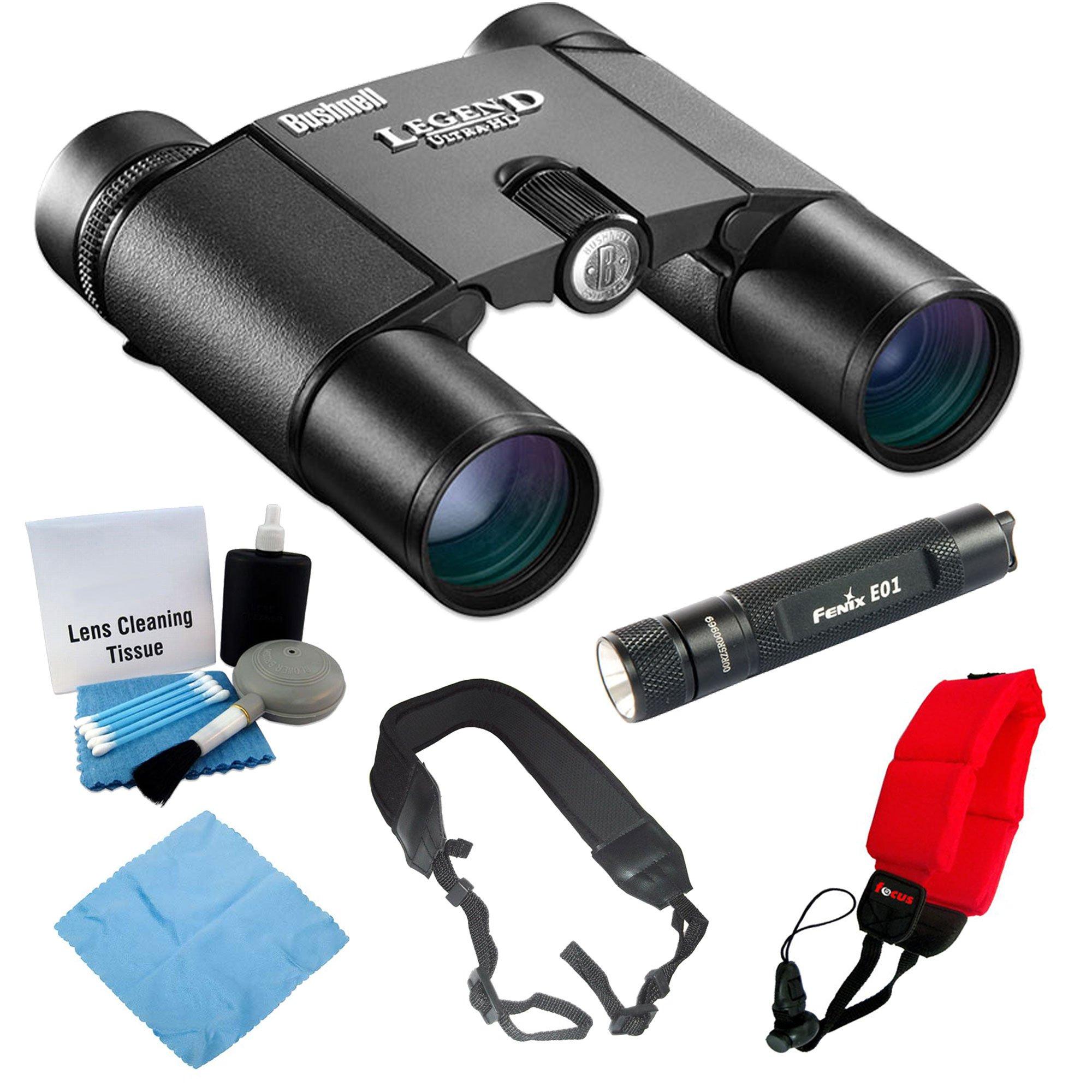 Bushnell 190125 Legend Ultra HD 10x 25mm Binoculars + Keychain LED Flashlight + Accessory Kit