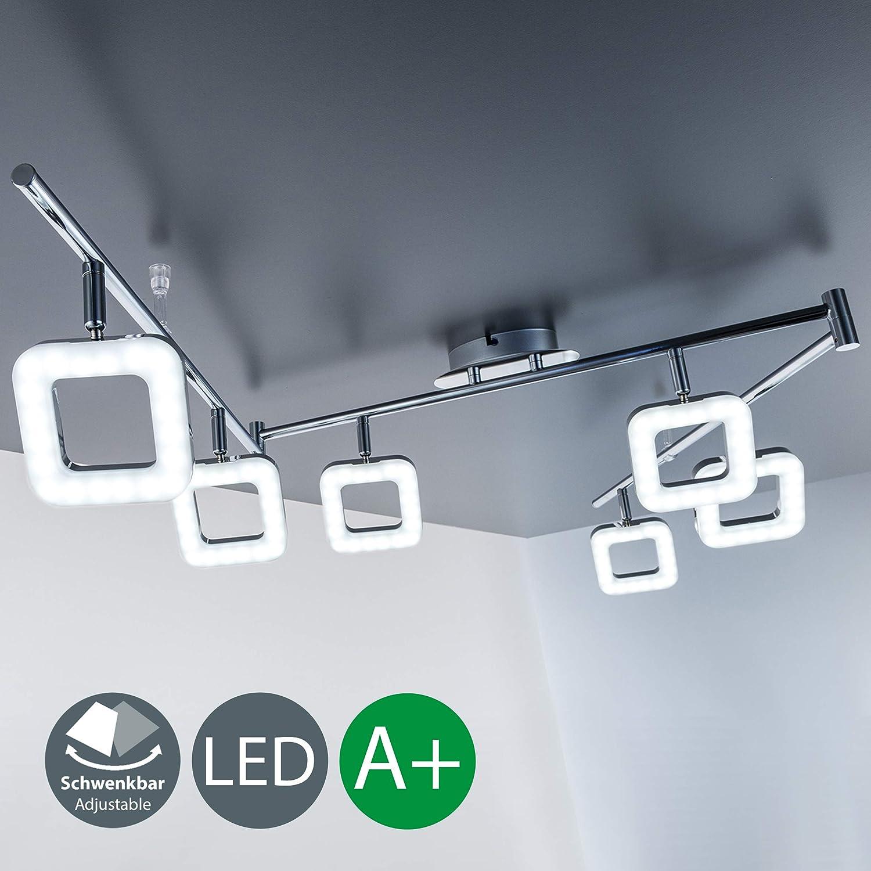 LED ceiling light for living room & kitchen I Bedroom lamp I rotatable and pivotable I angular, chrome design I warm white I 6 x 4 W LED modules I 230 V I IP20 [Energy Class A+] B.K.Licht BKL1042