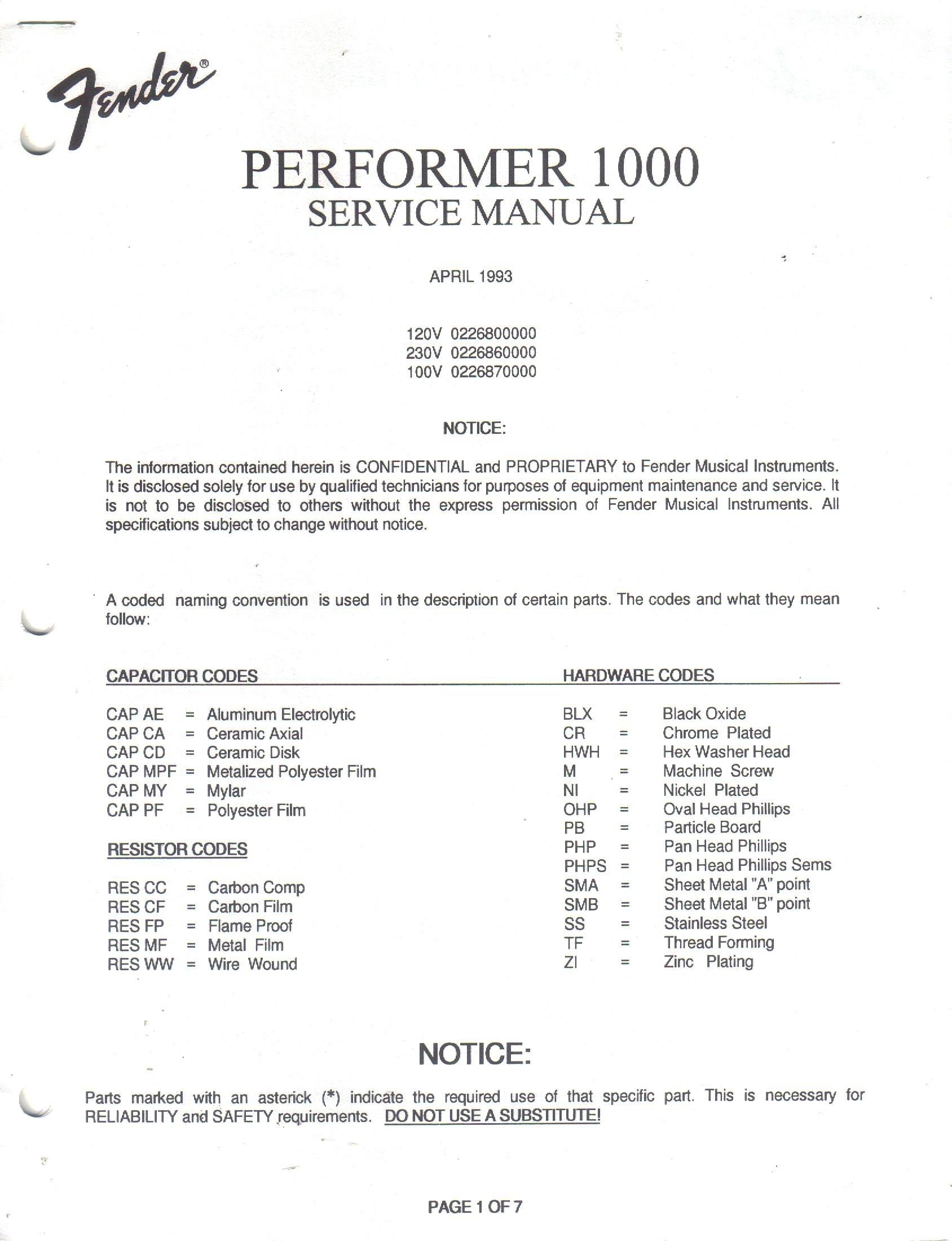 FENDER Performer 1000 Amp, Guitar Amplifier Service Manual ... on