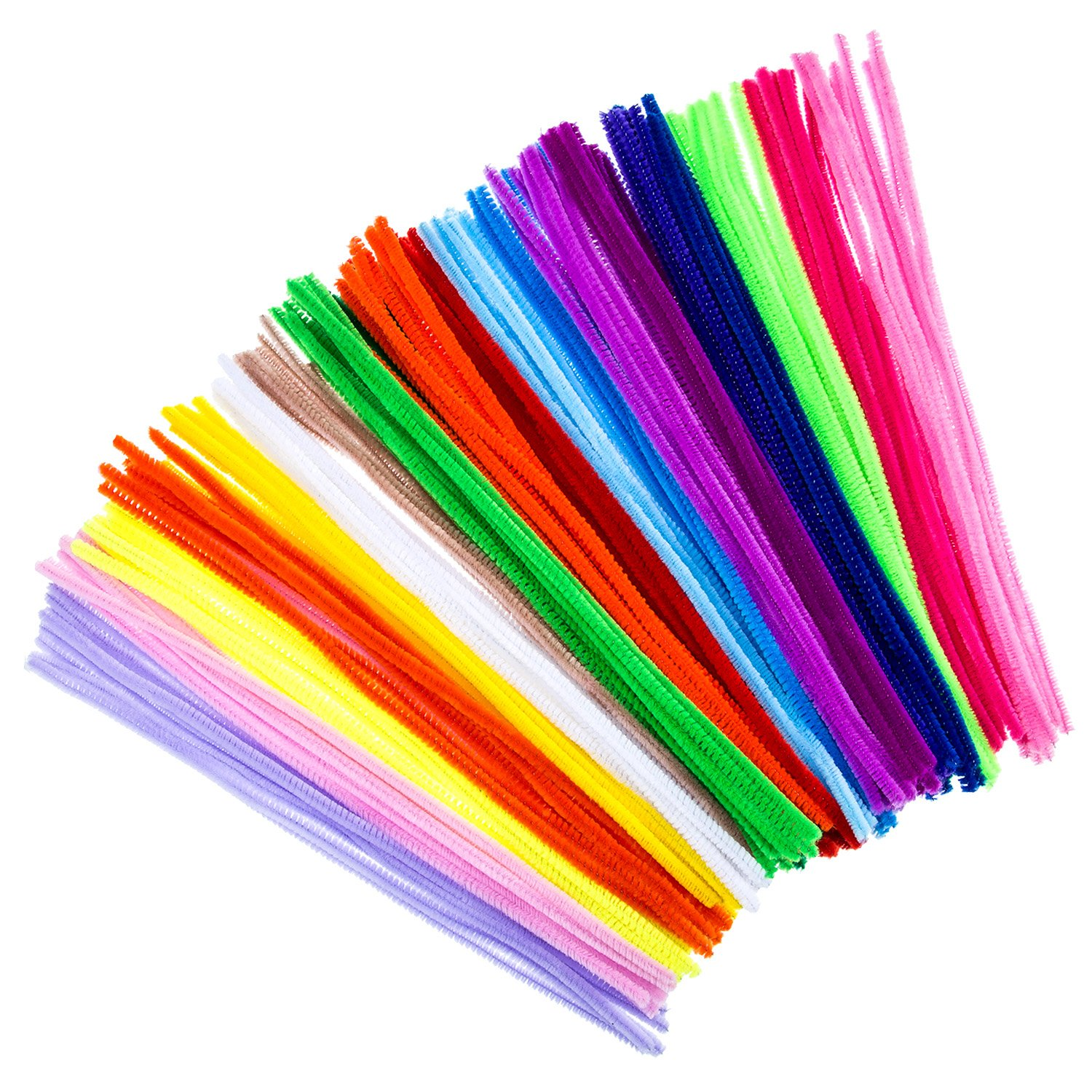 Bememo 200 Pieces Pipe Cleaners Chenille Stems 6 mm x 12 Inch for Diy Art Craft Assorted Colors