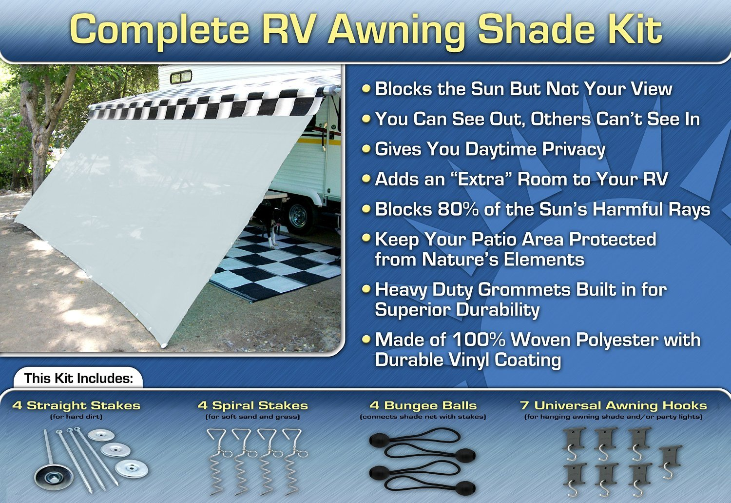 RV Awning Shade Net Motorhome Screen Net 8x16 (White) EZ Travel Distribution