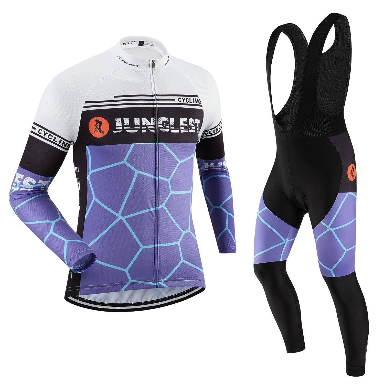 Cycling Jersey Set Wen長袖(S ~ 5 X L、オプション:よだれかけ、3dパッド) n115 B01BUH83U0  種類: セット(ブラック前掛け) (2.8cm 3D pad)(Chest 45-47inchs)