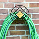 Decorative Garden Hose Wall Holder Butler, Wall Mount Water Hose Hanger, Hanging Iron Rack for Hose Pipe, Amber Dragonfly Déc