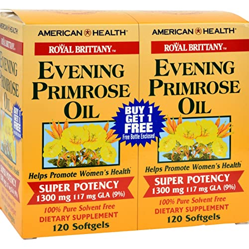 American Health Royal Brittany Evening Primrose Oil Softgels, 2 Pack – Promotes Women s Health – Nutritional Support for Women With PMS – Non-GMO, Gluten-Free – 1300 mg, 120 Count, 240 Total Servings