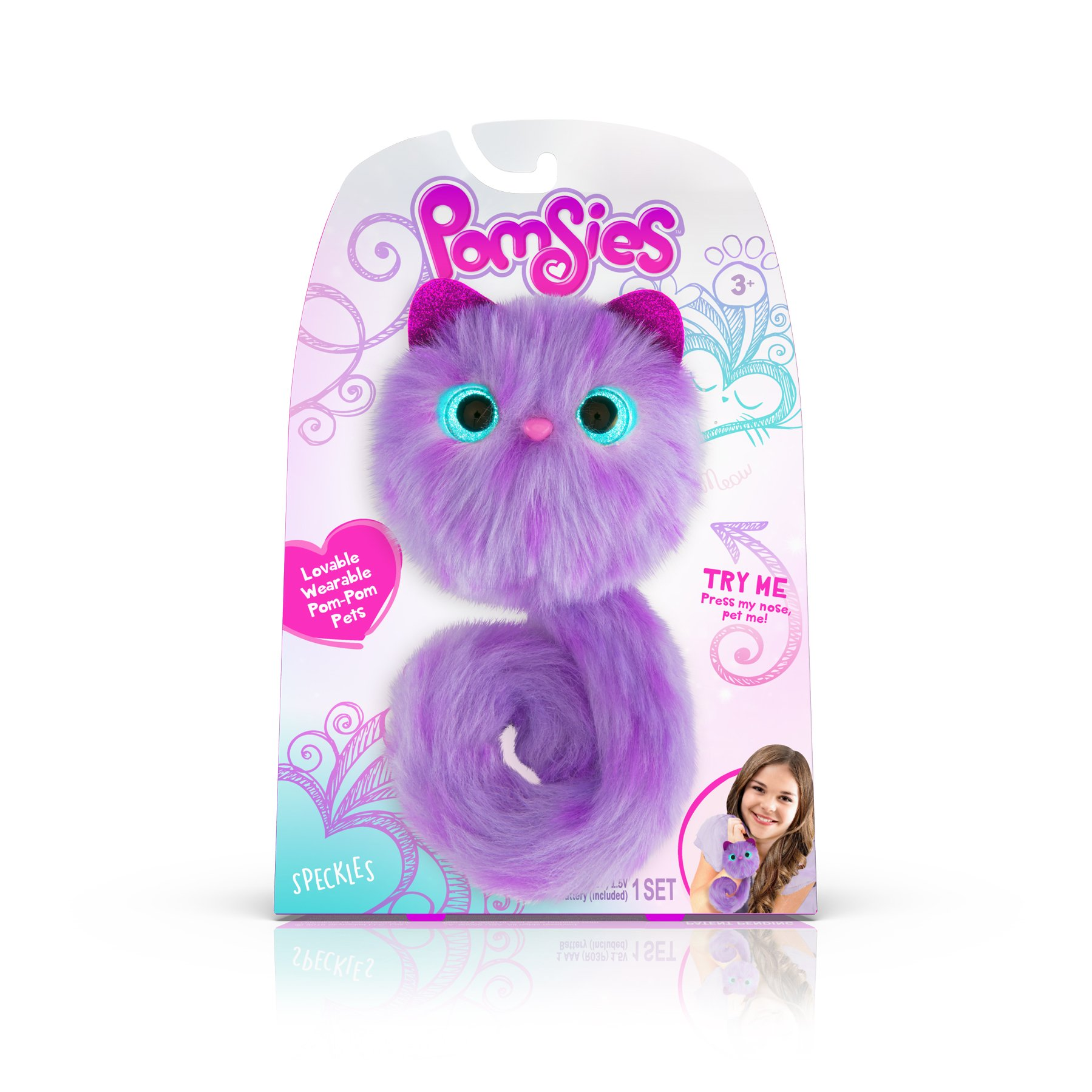 Pomsies Speckles Plush Interactive Toys, Purple/Lavender