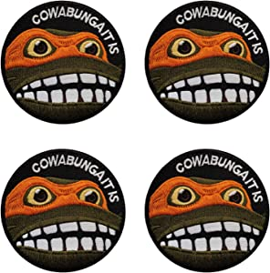 WZT 4 Pcs Cowabunga It is Embroidered Hook-Backed Morale Tactical Patch