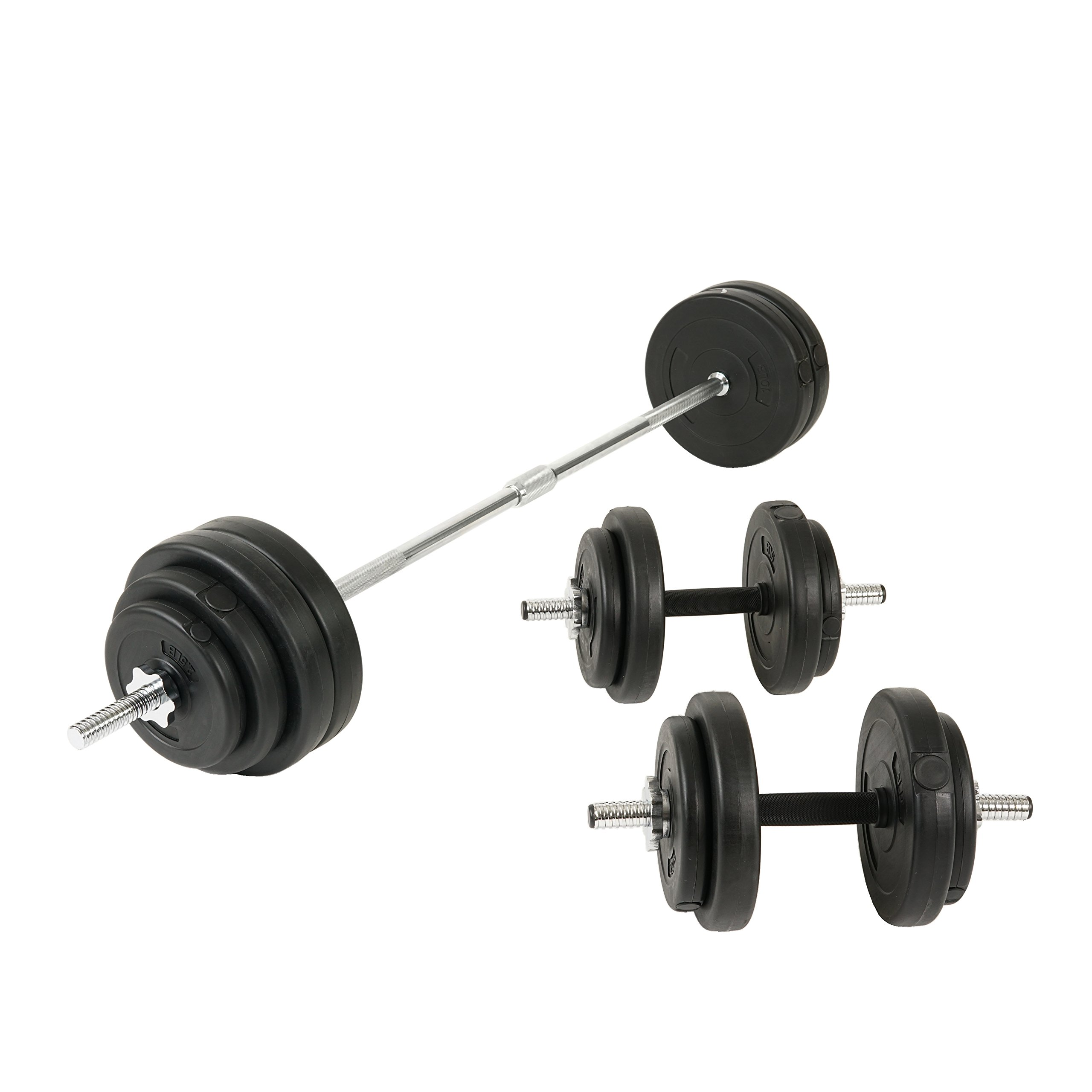 Sunny Health and Fitness 100lb Vinyl Barbell (Dumbbell Set)