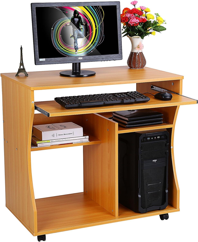 54 cm Yosoo Scrivania Porta PC Tavolo per Ufficio Computer Scaffale Ripiani Computer,con ripiano Tastiera,Mini Ufficio con Ruote,Postazione di Lavoro Dotata di mensola,86 76